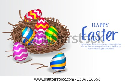 Colorful 3D group egg decoration for easter party celebration on the nest. Poster, layout banner, ad promotion template. Vector illustration #1336316558