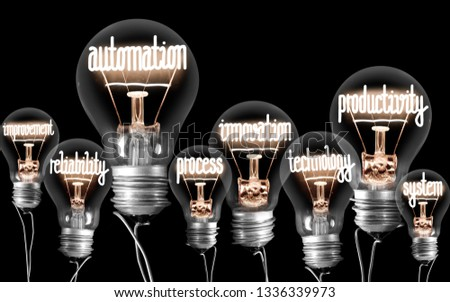 Photo of light bulbs with shining fibers in Automation, Productivity and Innovation shape isolated on black background #1336339973