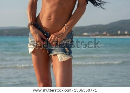 woman on seaside #1336358771