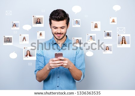 Close up photo interested he him his guy hold smartphone addicted online sit internet pick community age illustration pictures girls dating site futuristic creative design isolated white background