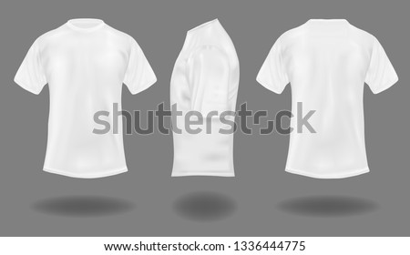Set of white t-shirts on gray background.  Front, back and side views. 3D illustration.  #1336444775