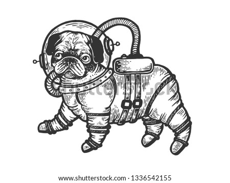 Pug puppy in armour space suit sketch engraving raster illustration. Scratch board style imitation. Black and white hand drawn image.