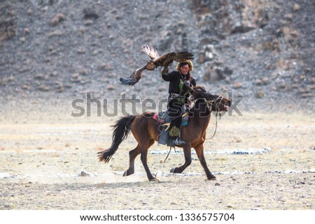 SAGSAY, MONGOLIA - SEP 30, 2017: Berkutchi - Kazakh hunter with Golden eagle, while hunting to the hare in desert mountain of Western Mongolia. #1336575704