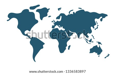 Simple world map in flat style isolated on white background. Vector illustration. Royalty-Free Stock Photo #1336583897