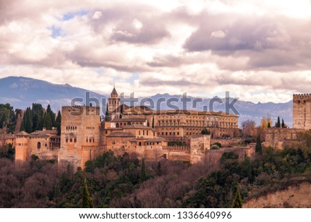 Granada, Spain - March 12, 2019: Alhambra of Granada during daytime, palace and fortress complex located in Granada, Andalusia, Spain. #1336640996