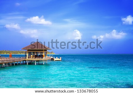 Landscape photo of Island in ocean, over water villa with endless swimming pools. Maldives. #133678055