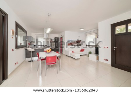 Italy, Sicily, Ragusa Province, countryside; 4 June 2018, elegant private house, living room and kitchen - EDITORIAL #1336862843
