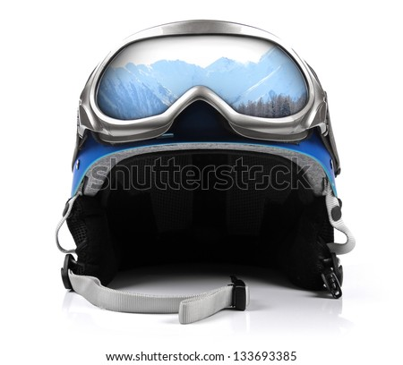 blue snowboard helmet with goggles #133693385
