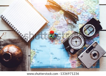 Top view of traveler accessories   Travel vacation trip background concept  #1336971236