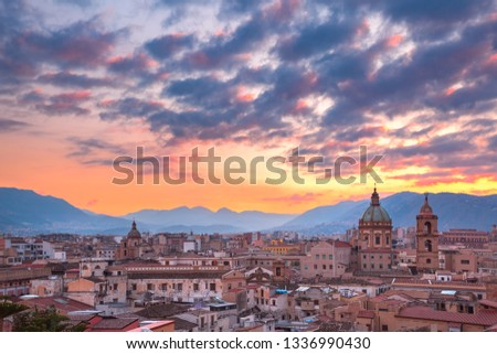Aerial view of Palermo at sunset, Sicily, Italy #1336990430