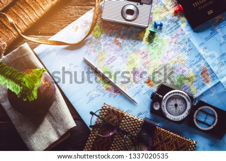 Top view of traveler accessories   Travel vacation trip background concept #1337020535