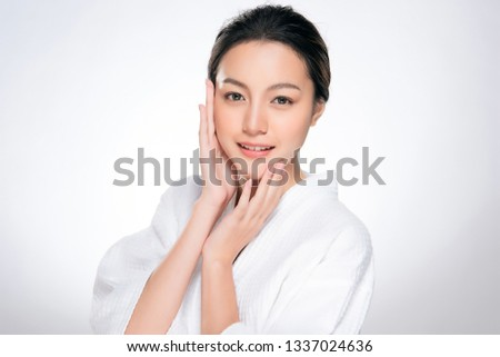 Beautiful Young asian Woman with Clean Fresh Skin look. Girl beauty face care. Facial treatment. Cosmetology, beauty and spa. #1337024636