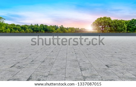 Empty square tiles and beautiful sky scenery #1337087015