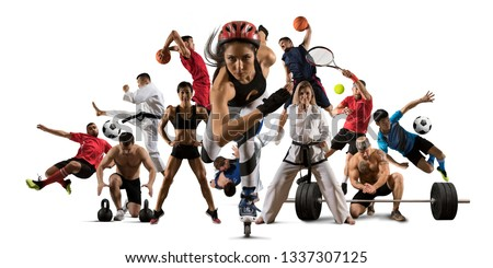 Huge multi sports collage roller skating, taekwondo, tennis, karate, soccer, basketball, football, bodybuilding, etc #1337307125