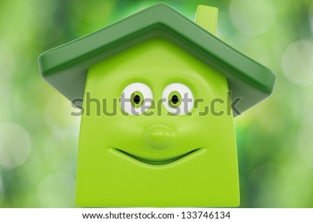 Eco cartoon house against spring green background. Ecology concept