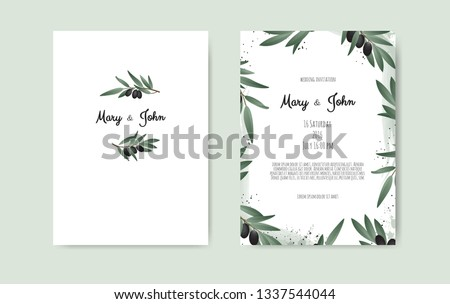 Botanical wedding invitation card template design with Olive branch. #1337544044