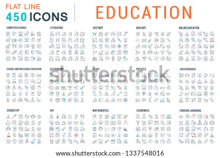 Collection of vector line icons of education. Natural and mathematical science, additional education, tutorship, freelance. Set of flat signs and symbols for web and apps. #1337548016