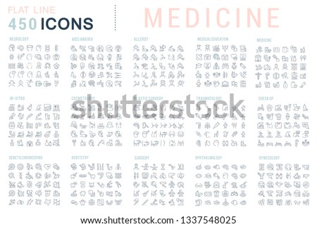 Collection of vector line icons of medicine. Surgery, dentistry, invitro, aids, cancer, check up, orthodontics, biology, vet, clinic, education. Set of flat signs and symbols for web and apps. #1337548025