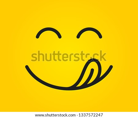 Yummy smile emoticon with tongue lick mouth. Tasty food eating emoji face. Delicious cartoon on yellow background. Face line design. Savory gourmet. Vector #1337572247