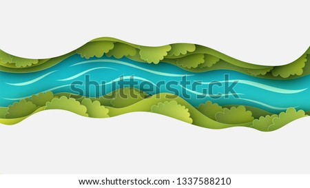 Paper layer cut of top view landscape in forest with trees, river, cloud and narrow valley. Landscape design on paper art. paper cut and craft style. vector, illustration. #1337588210