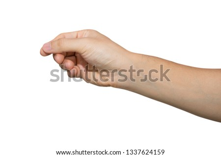 Man hand holding isolated on white background with clipping path. #1337624159