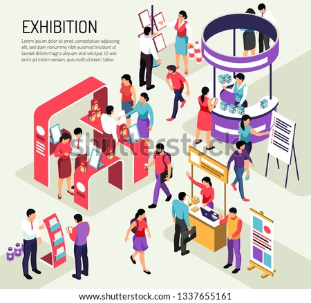 Isometric expo exhibition composition background with editable text description and colourful exhibit stands crowded with people vector illustration Royalty-Free Stock Photo #1337655161