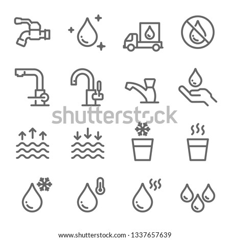 Water Icon Set. Contains such Icons as Tap, Faucet, Hot Water, No Water, Delivery and more. Expanded Stroke Royalty-Free Stock Photo #1337657639