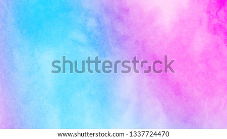 Creative ink colors wet effect canvas aquarelle background. Fantasy smooth pastel light pink, purple and blue shades watercolor paper textured illustration for grunge design, vintage card, templates #1337724470