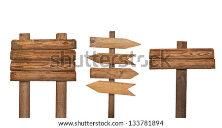 collection of various  empty wooden sign on white background. each one is shot separately #133781894