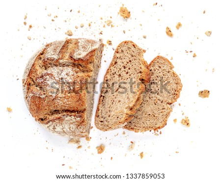 Sliced bread isolated on  white background. Crumbs and fresh Bread slices close up. Bakery, food concept. Top view #1337859053