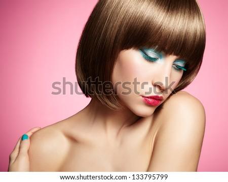 Fashion photo of beautiful woman on pink background. Beauty portrait #133795799