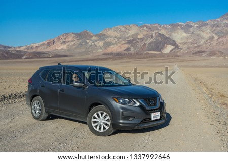 Death Valley, California - November 2, 2017: View of a grey 2017 Nissan Rogue in the desert. #1337992646