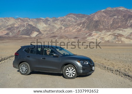 Death Valley, California - November 2, 2017: View of a grey 2017 Nissan Rogue in the desert. #1337992652