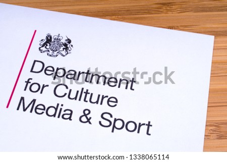London, UK - March 12th 2019: Logo for the Department for Culture, Media and Sport, pictured on a piece of paper or leaflet.  It is a department in UK Government. #1338065114