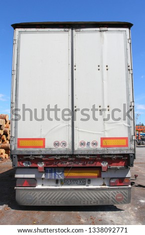 Zavodoukovsk, Tyumen region, Russia, June 8, 2010: rear view of the truck. Delivery from Europe. #1338092771