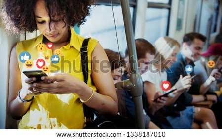 Young woman watching a live stream #1338187010