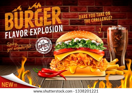 Delicious spicy fried chicken burger ads with burning fire and set menu in 3d illustration #1338201221