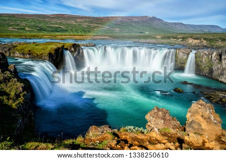 The Godafoss (Icelandic: waterfall of the gods) is a famous waterfall in Iceland. The breathtaking landscape of Godafoss waterfall attracts tourist to visit the Northeastern Region of Iceland. #1338250610