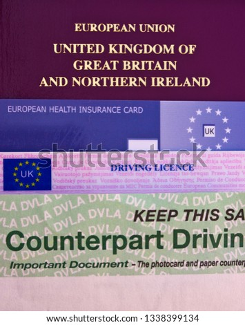 Old style Passport, Health Insurance Card and 2 part Driving Licence. #1338399134