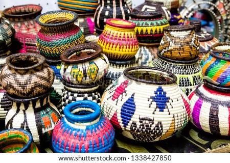 Panama embera indian woven baskets at Panama City, Panama, Central America #1338427850