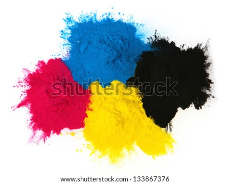 Color copier toner cyan magenta yellow isolated on white background #133867376