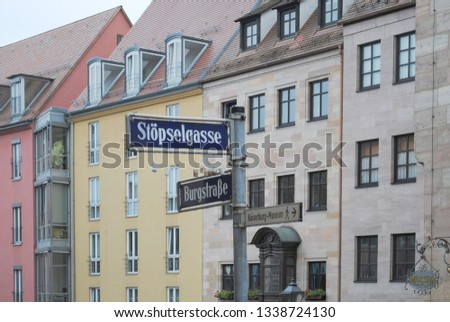 NUREMBERG, GERMANY - AUG 2016: Original architecture in the German city of Nuremberg #1338724130