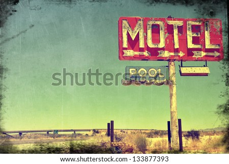 A worn vintage photo of an abandoned motel in Arizona. #133877393