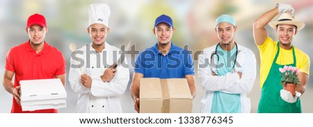 Occupations occupation education training profession doctor cook young latin man job town city #1338776345