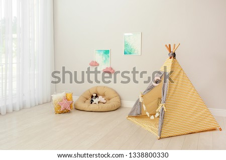Modern nursery room interior with play tent for kids #1338800330