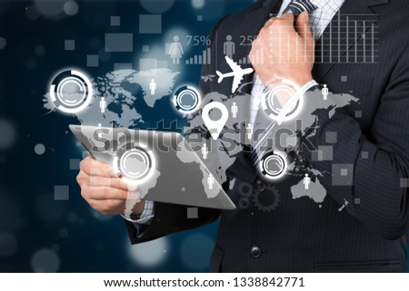 Businessman drawing earth on background #1338842771