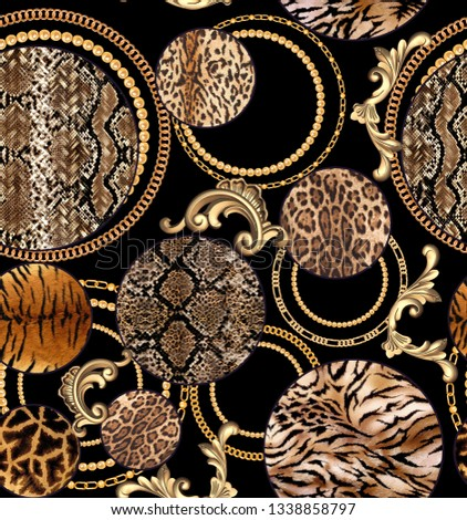 seamless Leopard pattern and golden chain texture repeating Texture Leopard Fashionable print. Fashion and stylish - Vektör  #1338858797