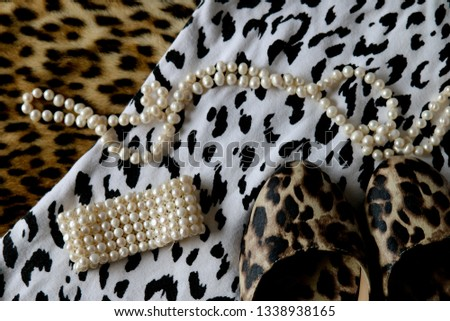 Layered color and black and white leopard print clothing  #1338938165