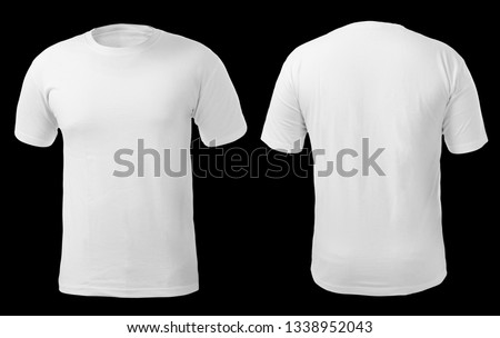 Blank shirt mock up template, front and back view, isolated on white, plain t-shirt mockup. Tee sweater sweatshirt design presentation for print. #1338952043