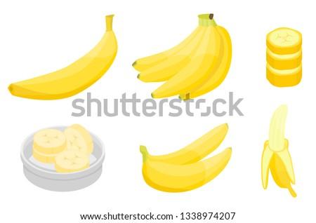 Banana icons set. Isometric set of banana vector icons for web design isolated on white background #1338974207